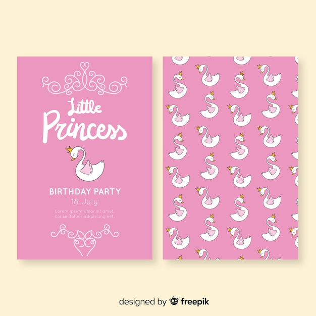Hand drawn princess style birthday card Free Vector