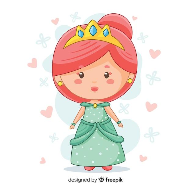 Ручной обращается принцесса с зеленым платьем Бесплатные векторы