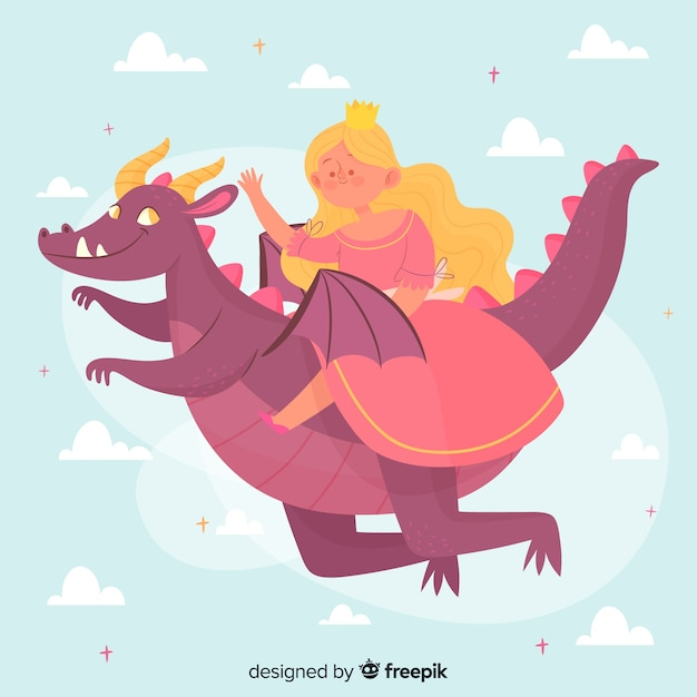 Hand drawn princess with pink dress flying on a dragon Free Vector