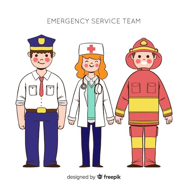 Hand drawn professional emergency team Free Vector