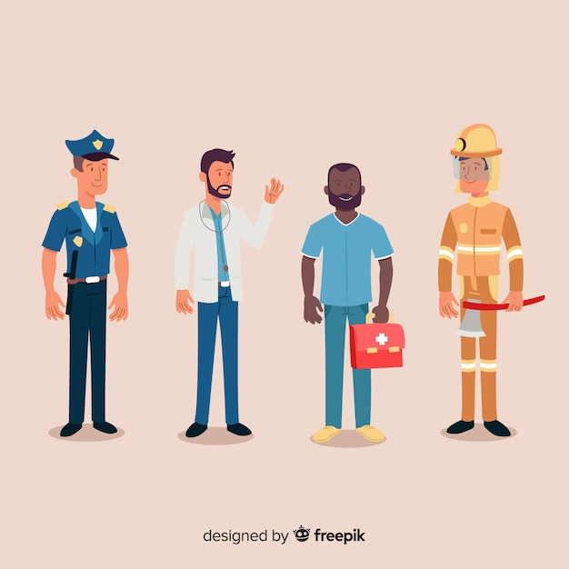 Hand drawn professional emergency team Free Vector