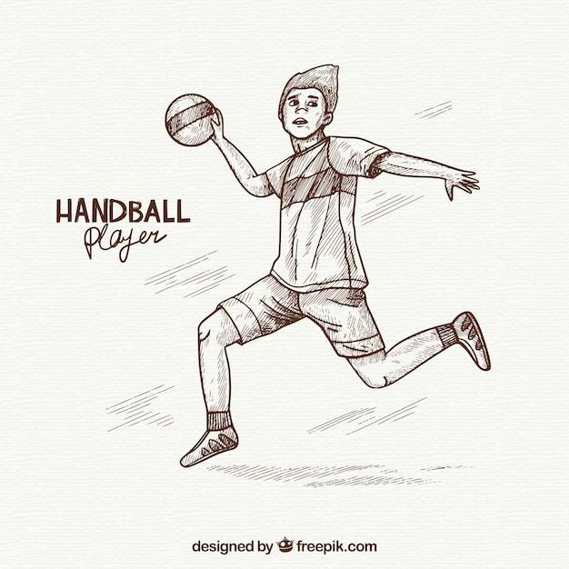 Hand drawn professional handball player Free Vector