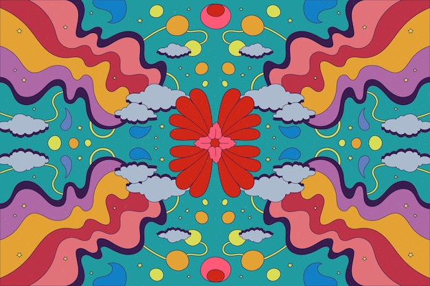 Hand drawn psychedelic groovy background Free Vector