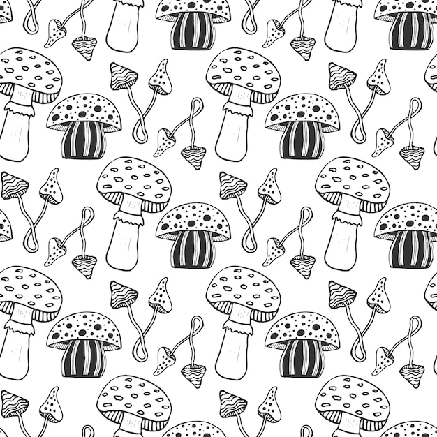 Hand drawn psychedelic magic mushrooms seamess pattern. doodle vector background with poison mushrooms. Premium Vector