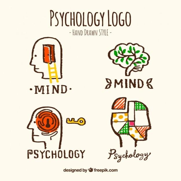 Hand-drawn psychology logos Free Vector