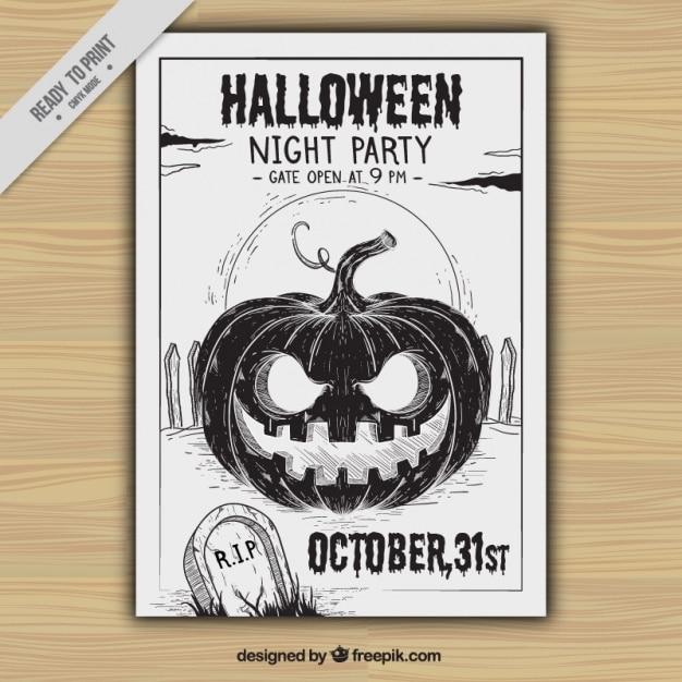 hand drawn pumpkin halloween party flyer Free Vector