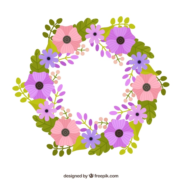 Hand drawn purple and pink flowers\ wreath
