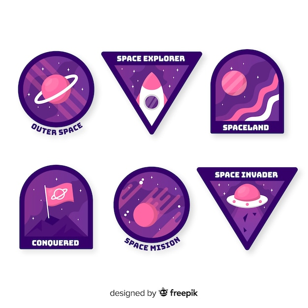 Hand drawn purple space stickers collection Free Vector