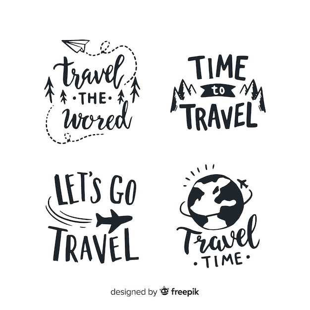 Hand drawn quote badges lettering style Free Vector