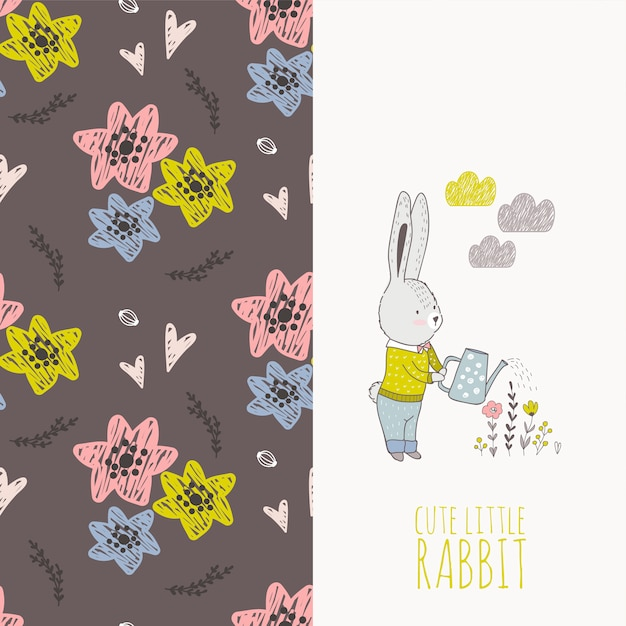Hand drawn rabbit with flowers card and seamless pattern. Premium Vector