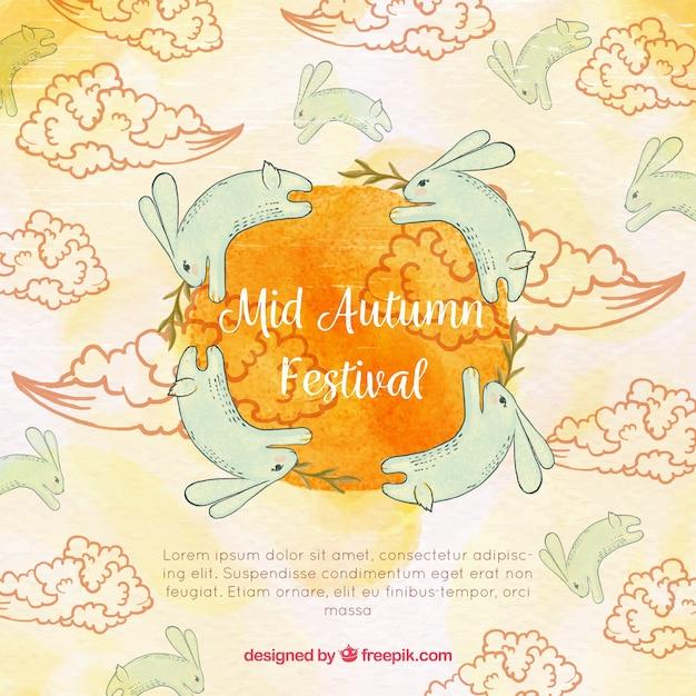Hand-drawn rabbits, mid autumn festival