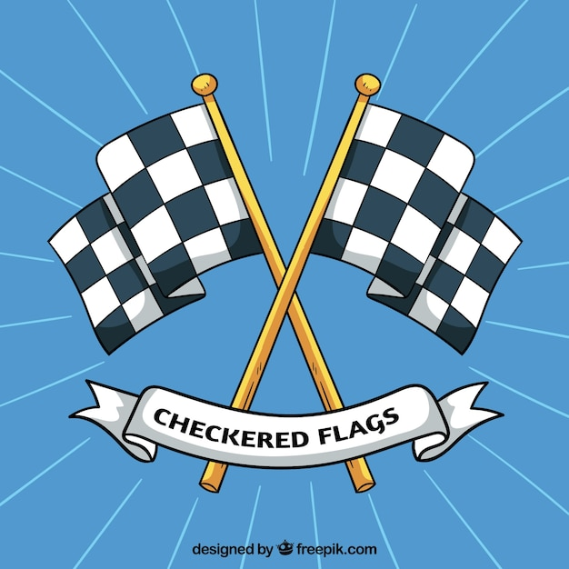 Hand drawn race checkered flags Premium Vector