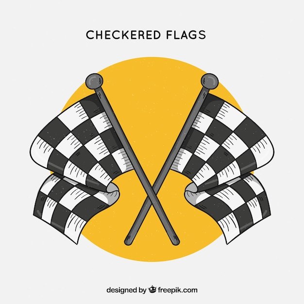 Hand drawn race checkered flags Free Vector