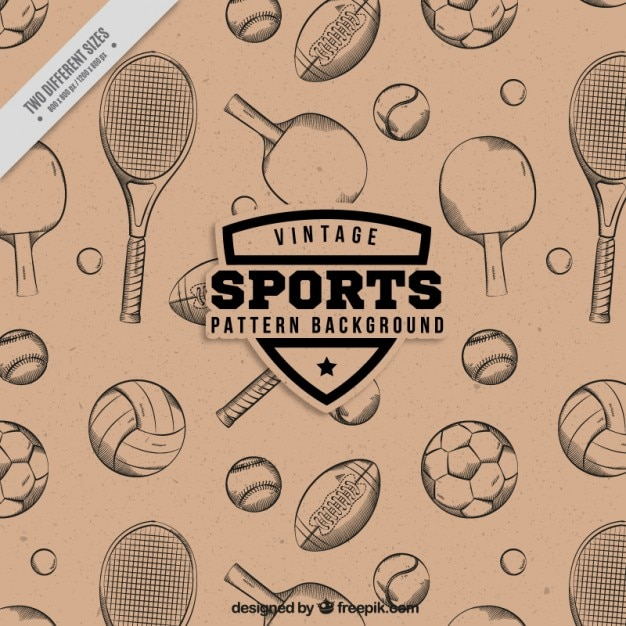 Hand drawn rackets and balls pattern Free Vector
