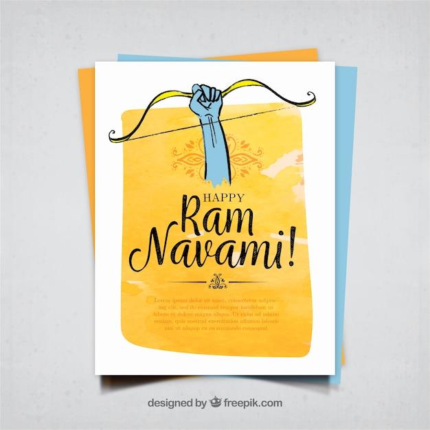 Hand drawn ram navami watercolor greeting Free Vector