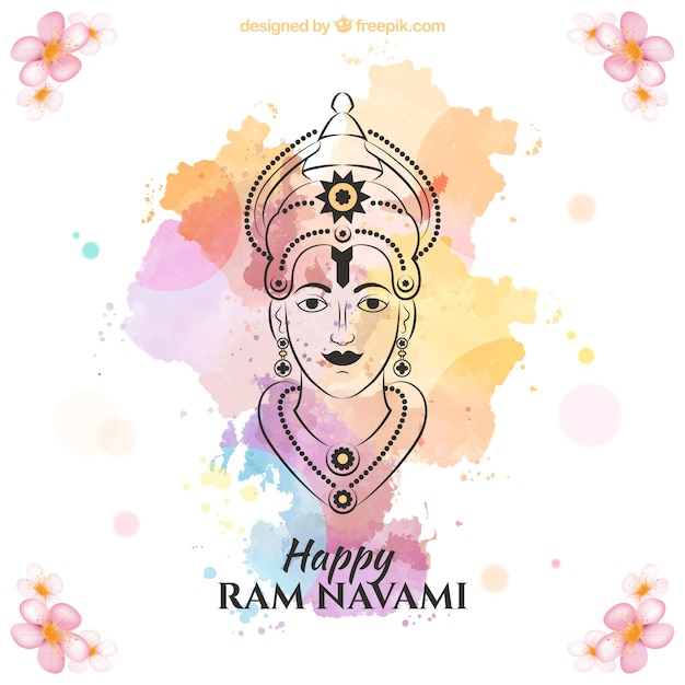 Hand drawn ram navami with colors splashes background Free Vector