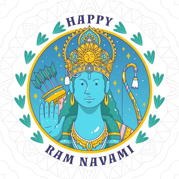 Hand-drawn ram navami Free Vector