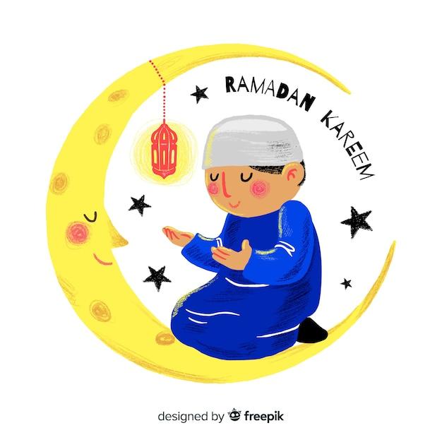 Hand drawn ramadan background Free Vector