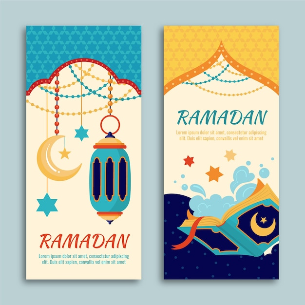 Ручной обращается рамадан баннеры шаблон Бесплатные векторы