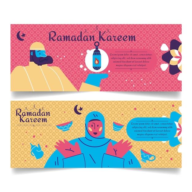Hand drawn ramadan banners Free Vector