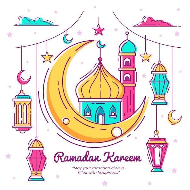 Hand drawn ramadan concept Premium Vector
