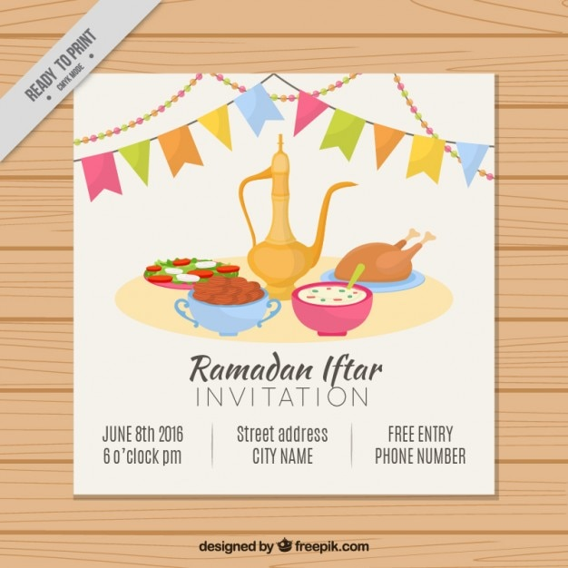 Download vector invitation of ramadan iftar with teapot and dates hand drawn ramadan iftar invitation stopboris Gallery
