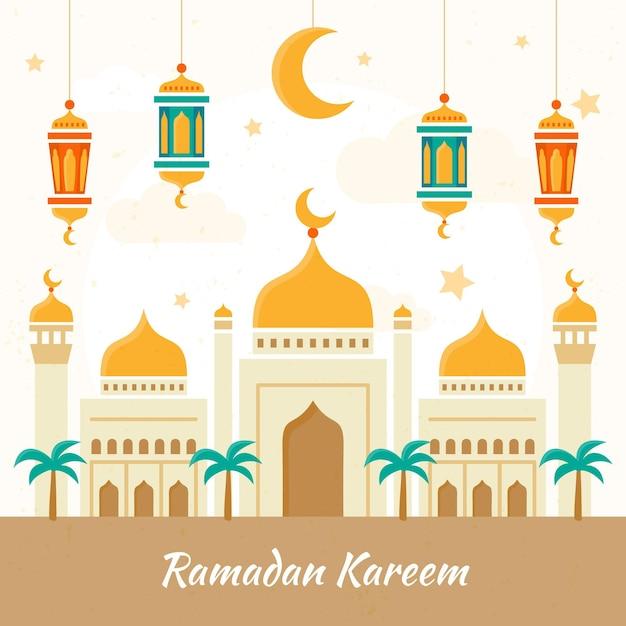 Нарисованная рукой иллюстрация рамадана карима Бесплатные векторы