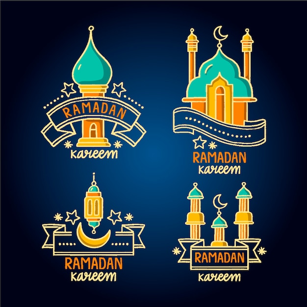 Hand drawn ramadan label collection with ribbons Free Vector