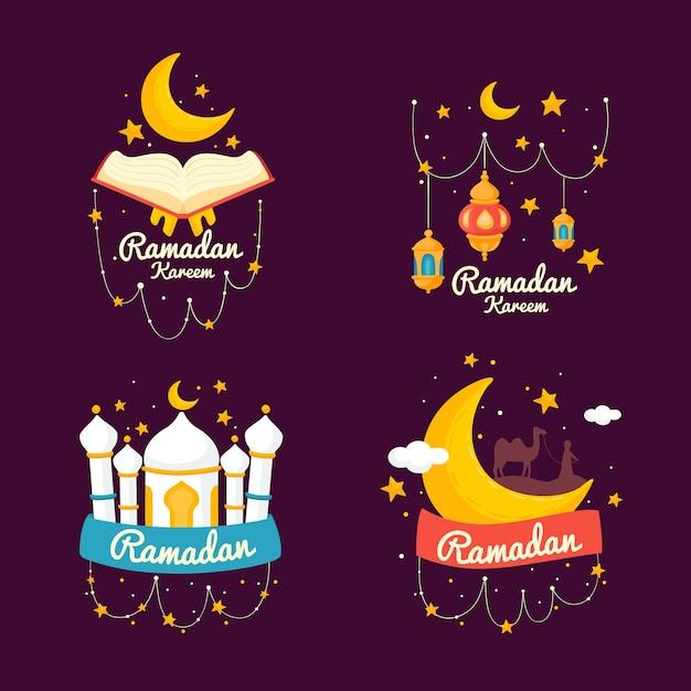 Hand drawn ramadan label collection Free Vector