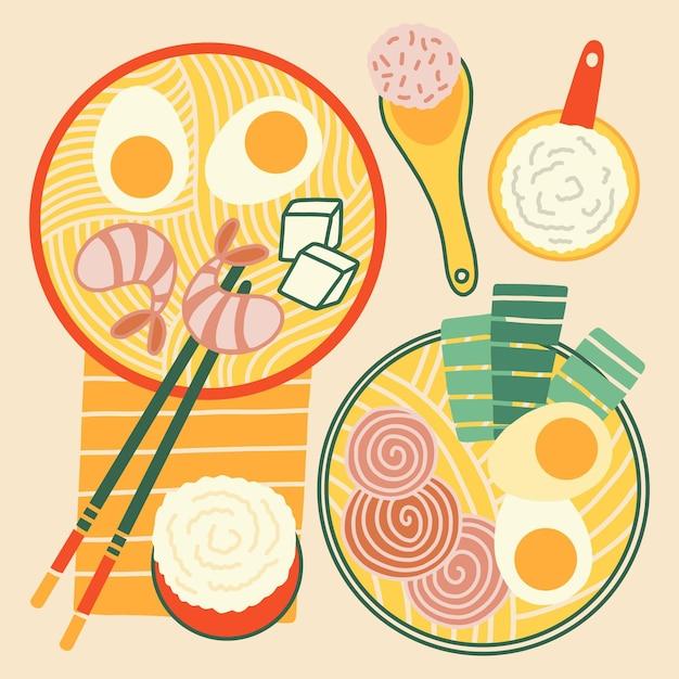 Hand drawn ramen soup set Free Vector