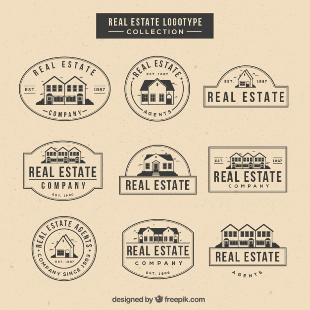 Hand drawn real estate logotypes in vintage style