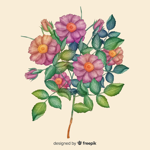Hand drawn realistic floral bouquet Free Vector