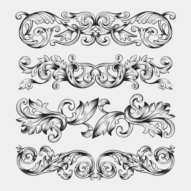 Hand drawn realistic ornamental border Free Vector