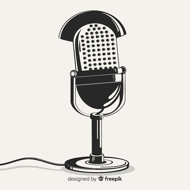 Hand drawn realistic retro microphone Free Vector