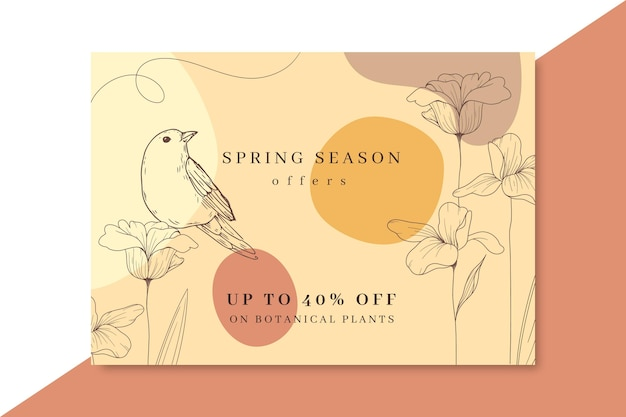 Hand drawn realistic spring card Free Vector