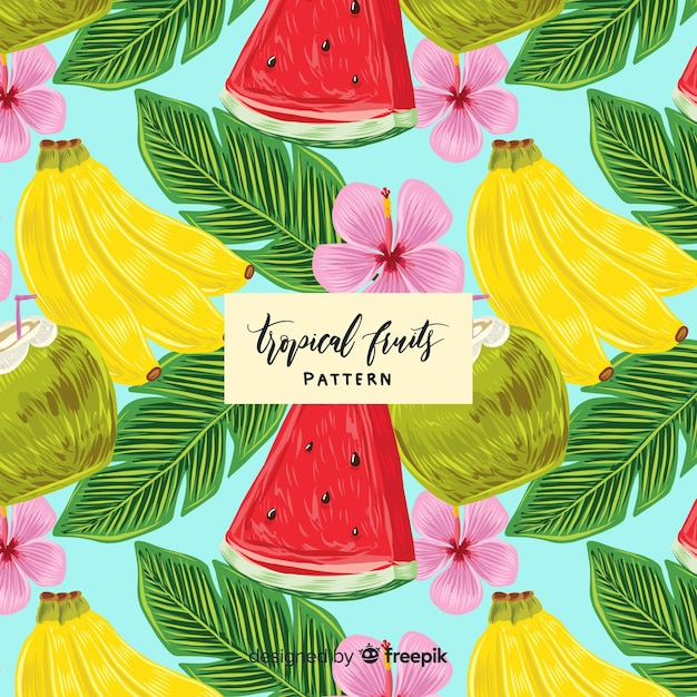 Hand drawn realistic tropical fruit pattern Free Vector