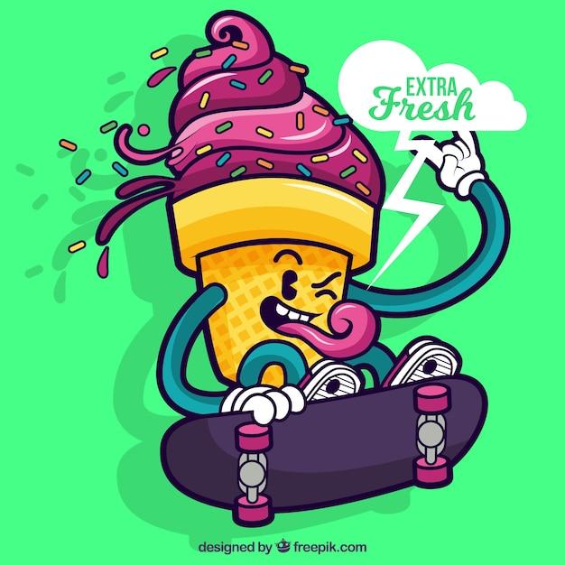 Download Cartoon Ice Cream Wallpaper Gallery: Hand Drawn Rebel Ice Cream Background Vector