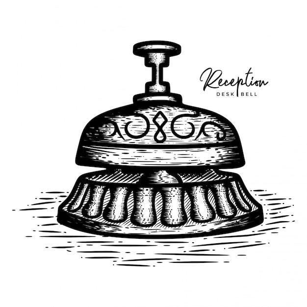 Hand drawn reception desk bell Premium Vector