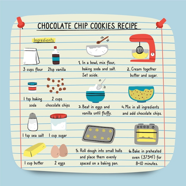 Hand drawn recipe concept Free Vector