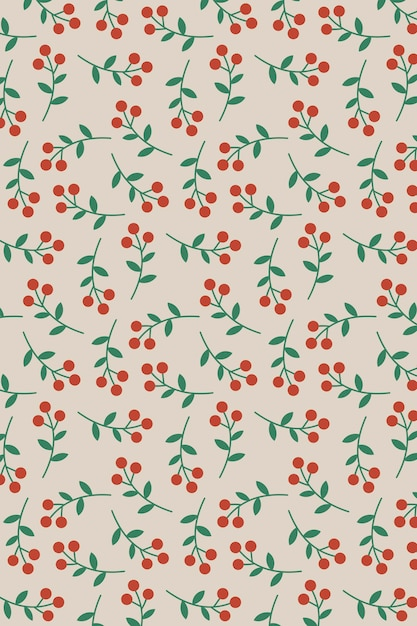 Hand drawn red berry seamless pattern Free Vector