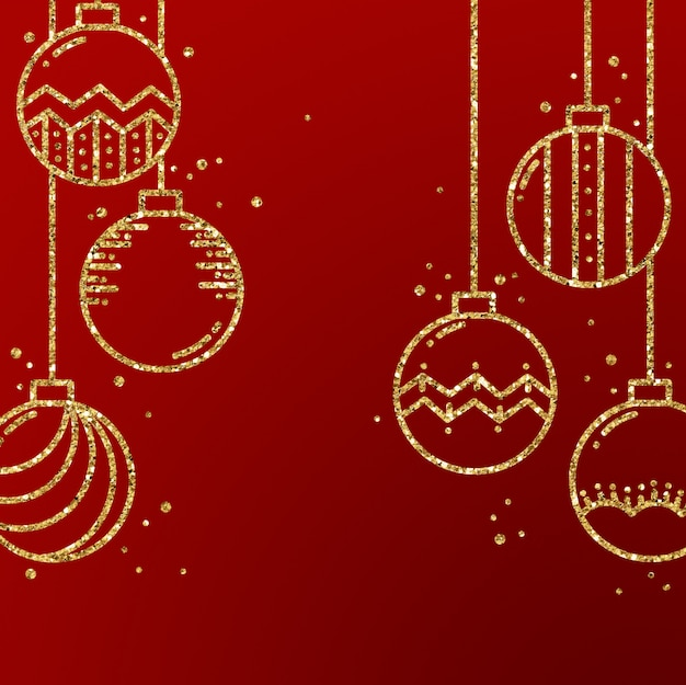 hand drawn red gold christmas ornaments background 5428 175