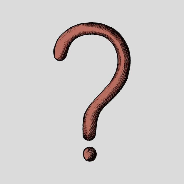 Hand-drawn red question mark illustration Premium Vector