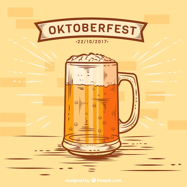 Hand drawn refreshing beer mug Free Vector