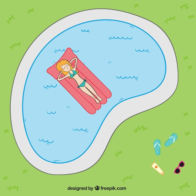 Hand drawn relaxed woman in a swimming\ pool