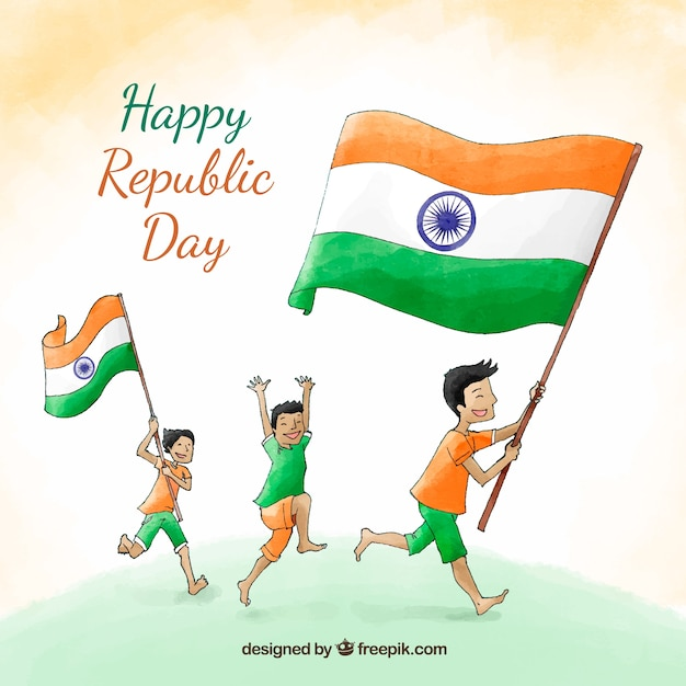 Hand Drawn Republic Day Background Vector Free Download