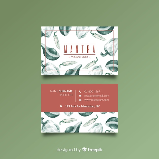 Hand drawn restaurant business card template Free Vector