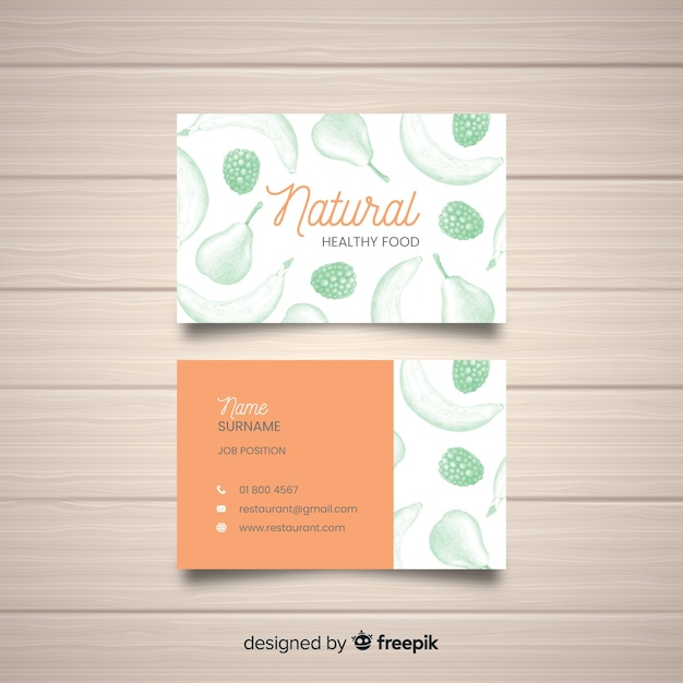 Hand drawn restaurant business card template Vector | Free