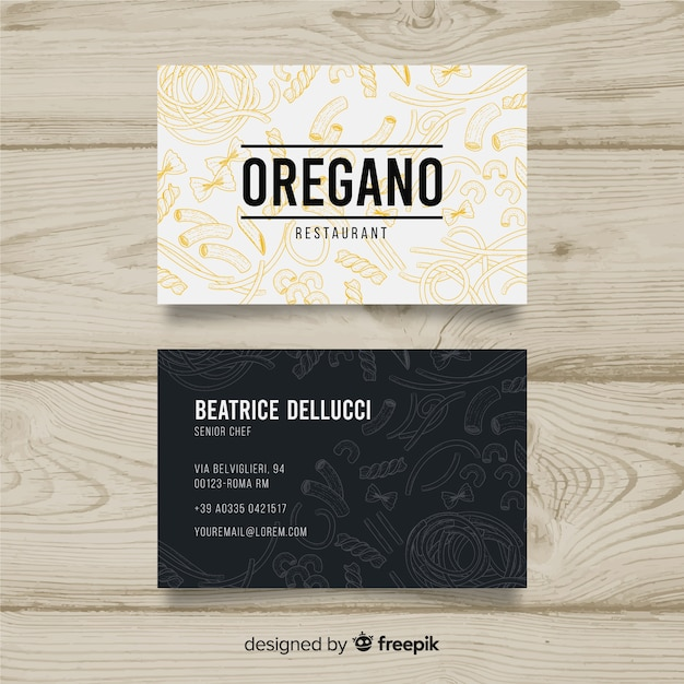 Hand drawn restaurant business card Vector | Free Download