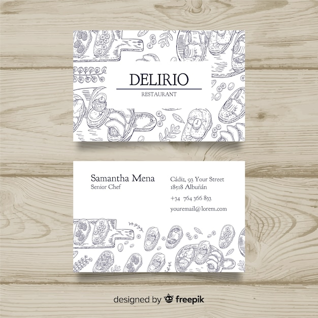 Hand drawn restaurant business card Free Vector