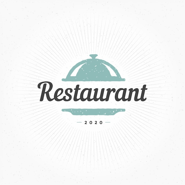 Hand drawn restaurant cloche element in vintage style for logo, label or badge and other Premium Vector